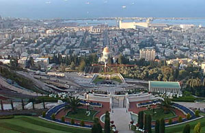 View of Haifa from Bahai Gardens and Shrine